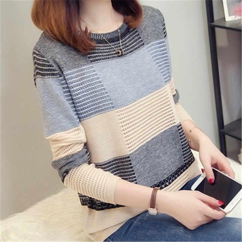 2019 primavera otoño mujeres suéter coreano a juego de color suelto a rayas de manga larga Jersey de punto otoño hueco suéter AS1087