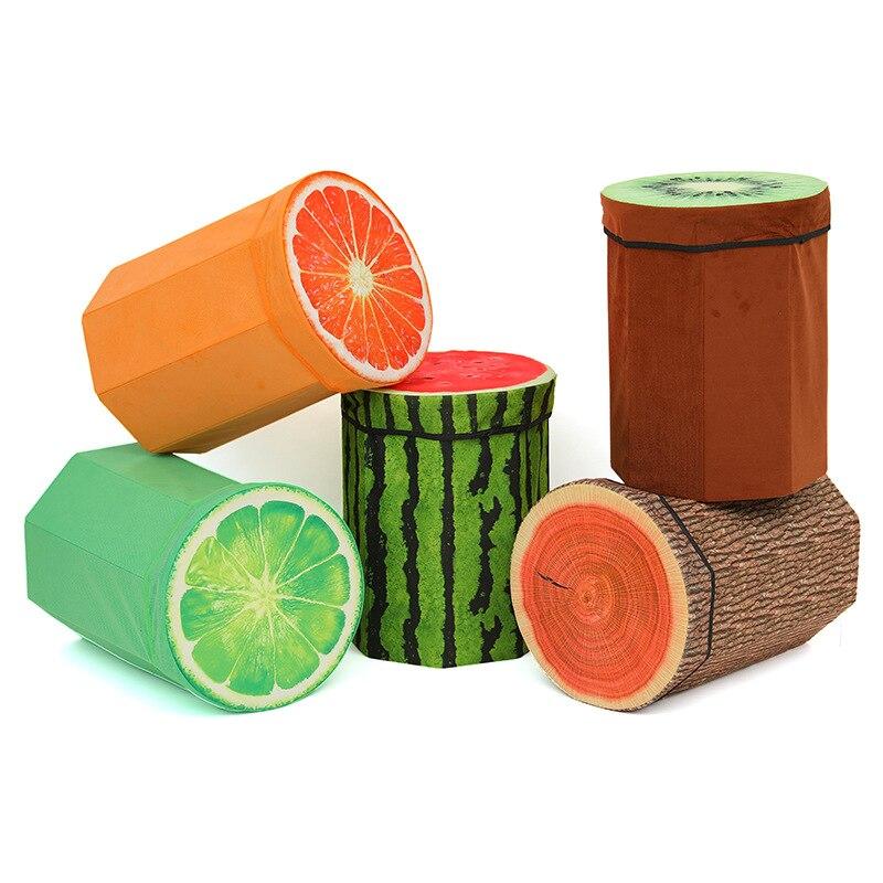 3d Kreative Obst Shap Falten Lagerung Organizer Ottomane Hocker Nette Kinder Spielzeug Lagerung Box Hocker Sitz Obst Muster Die Nieren NäHren Und Rheuma Lindern
