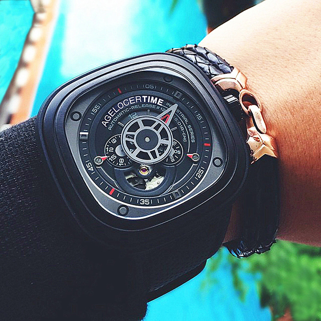 Agelocer Cool Hollow Automatic Mechanical Watches Men Luxury Brand Genuine Leather Casual Black Skeleton Watch Clock relogio