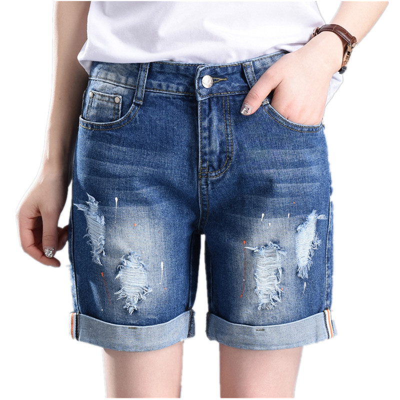 New 2018 Summer Women Grandes Bermuda Jeans Fashion Casual Reta Jeans Buraco Soltas Para Mulheres 55-100 Kg Plus Size 5xl   Shorts