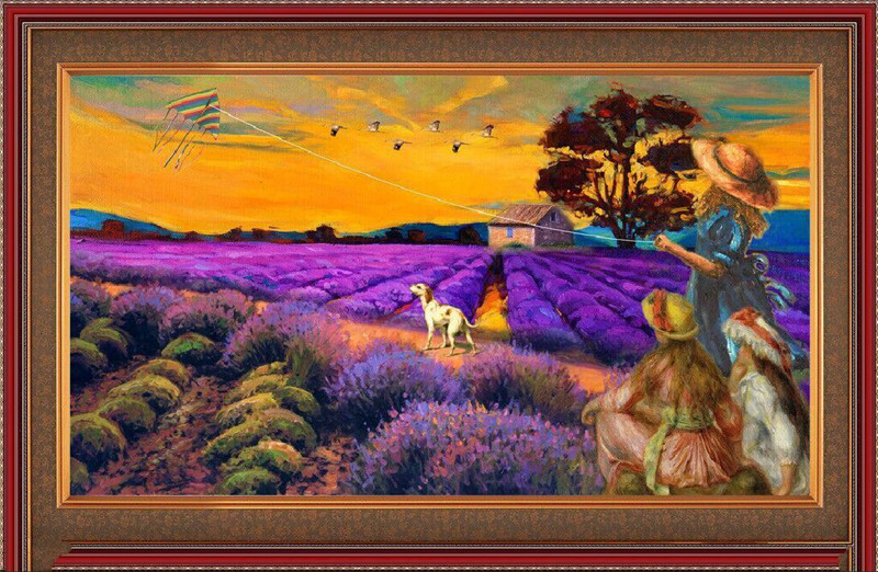 Diy crafts diamond embroidery 5d diy diamond painting crystal rustic scenery picture canvas cross stitch Field landscape