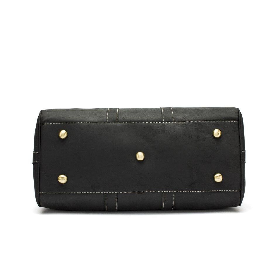 Hot Koop Lederen Tas Mode Top Laag Koe Lederen Mannen Grote Reistas Designer Eenvoudige Patchwork Zwarte Hand Tas - 4