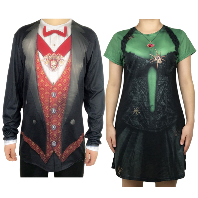 Gothic Vampire Witch Couples Halloween Costumes for Adult Partner Scary Goth Matching and