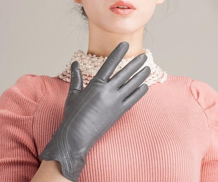 High Quality Women Genuine Sheepskin Winter Women Leather Gloves Lady knitting lined Warm Winter Mittens women gloves 53