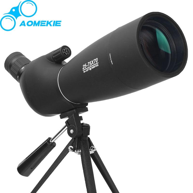 25-75X70 Zoom Spotting Scope avec Trépied Tournage Cible À Longue Distance Observation Des Oiseaux Monoculaire Télescope HD Optique Verre FMC Lentille