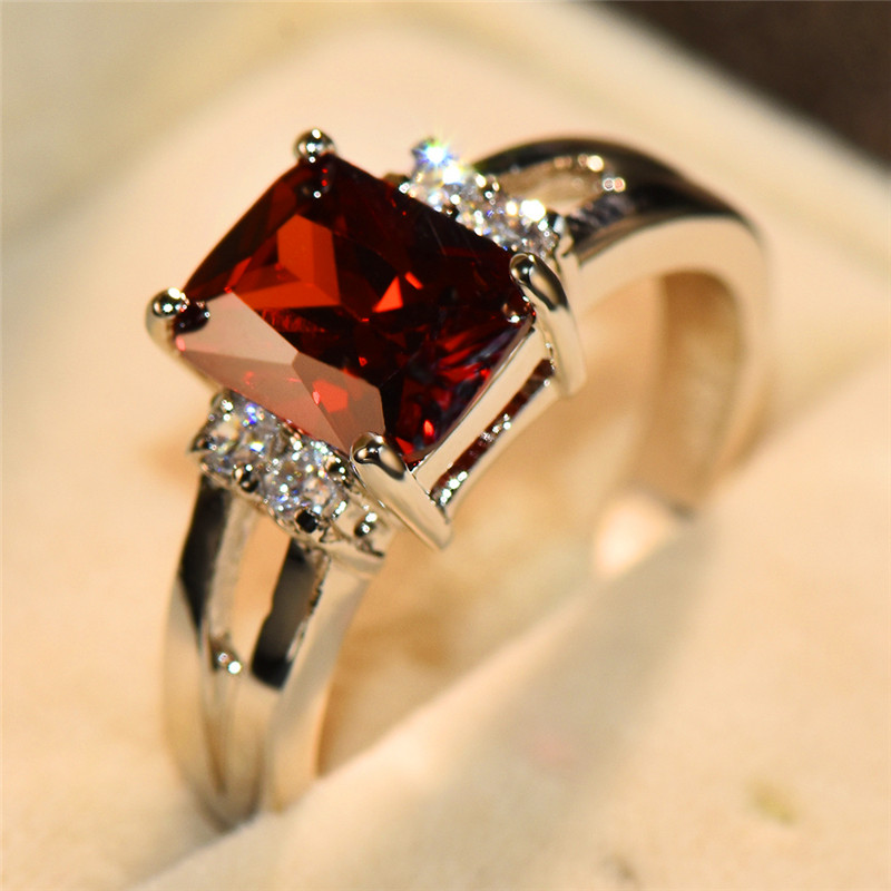 Luxury Female Pink Red Yellow Black Stone Ring Fashion Silver Color Wedding Jewelry Crystal Promise Engagement Rings For Women