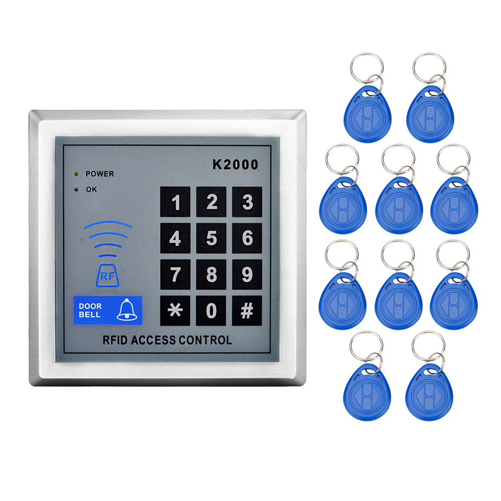 Free shipping 125KHz RFID Standalone Access Control Proximity Keypad Door Lock with 10 Key Fobs for Door security System-K2000 rfid standalone access control keypad 125khz card reader door lock with 10 proximity key fobs for door security system k2000