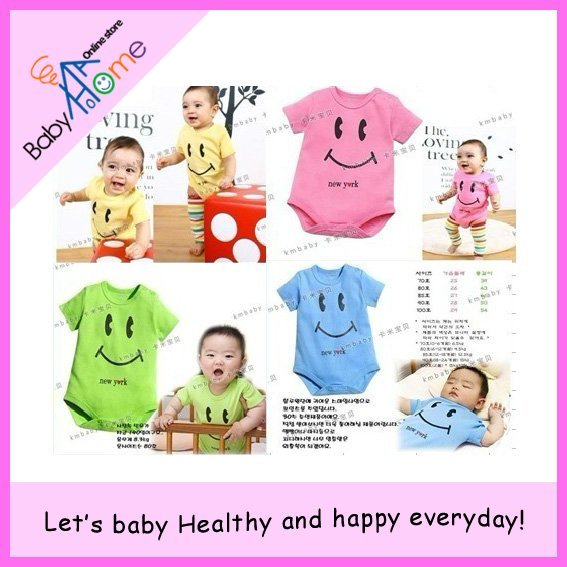 Free shipping HOT promotion 2012 new cute smiling face baby romper, triangle baby romper ,baby clothing 3pcs/lot