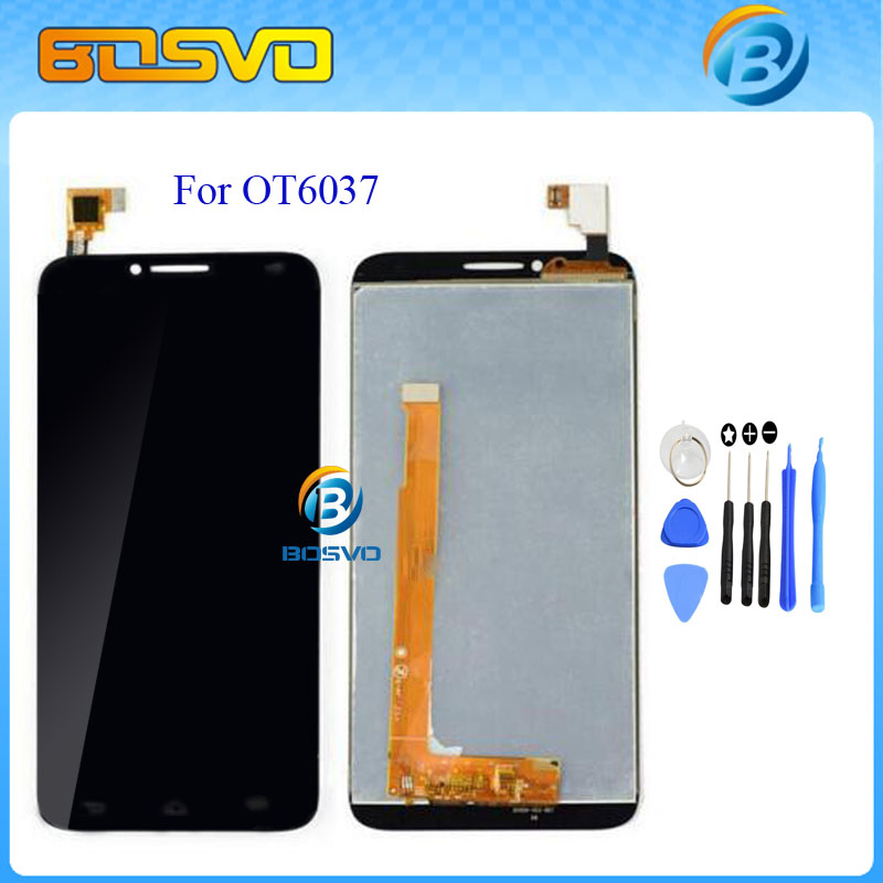 все цены на  LCD display with touch screen digitizer assembly For Alcatel One Touch Idol 2 OT6037 6037 6037Y 6037K Black White + free tools  в интернете
