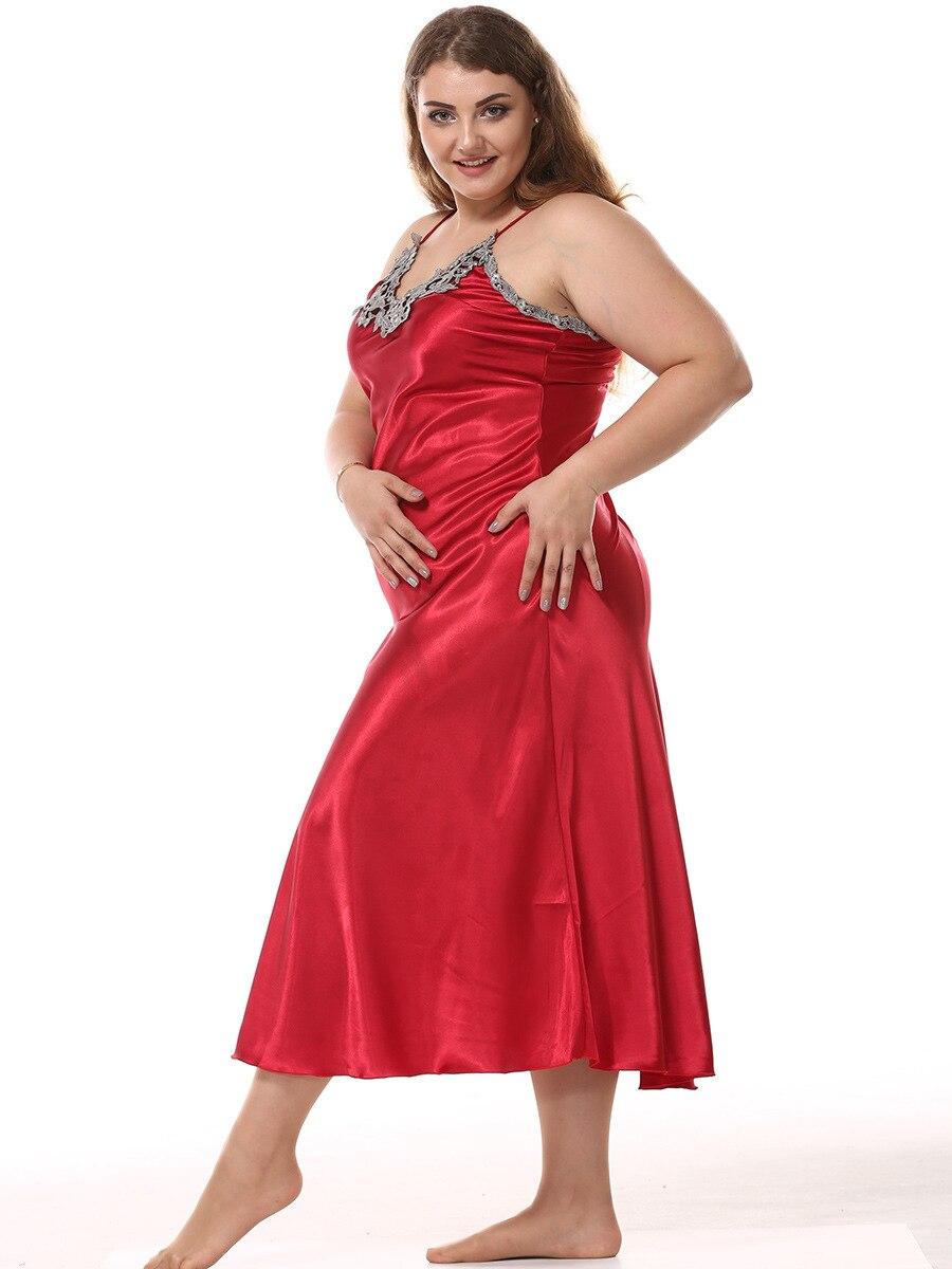 Image 4 - 큰 여성 nightwear nightdress rayon sleepwear 섹시한 v 넥 스파게티 스트랩 나이트 가운 롱 스타일 홈 드레스 nighty plus size xxl잠옷&슬립셔츠속옷&잠옷 -