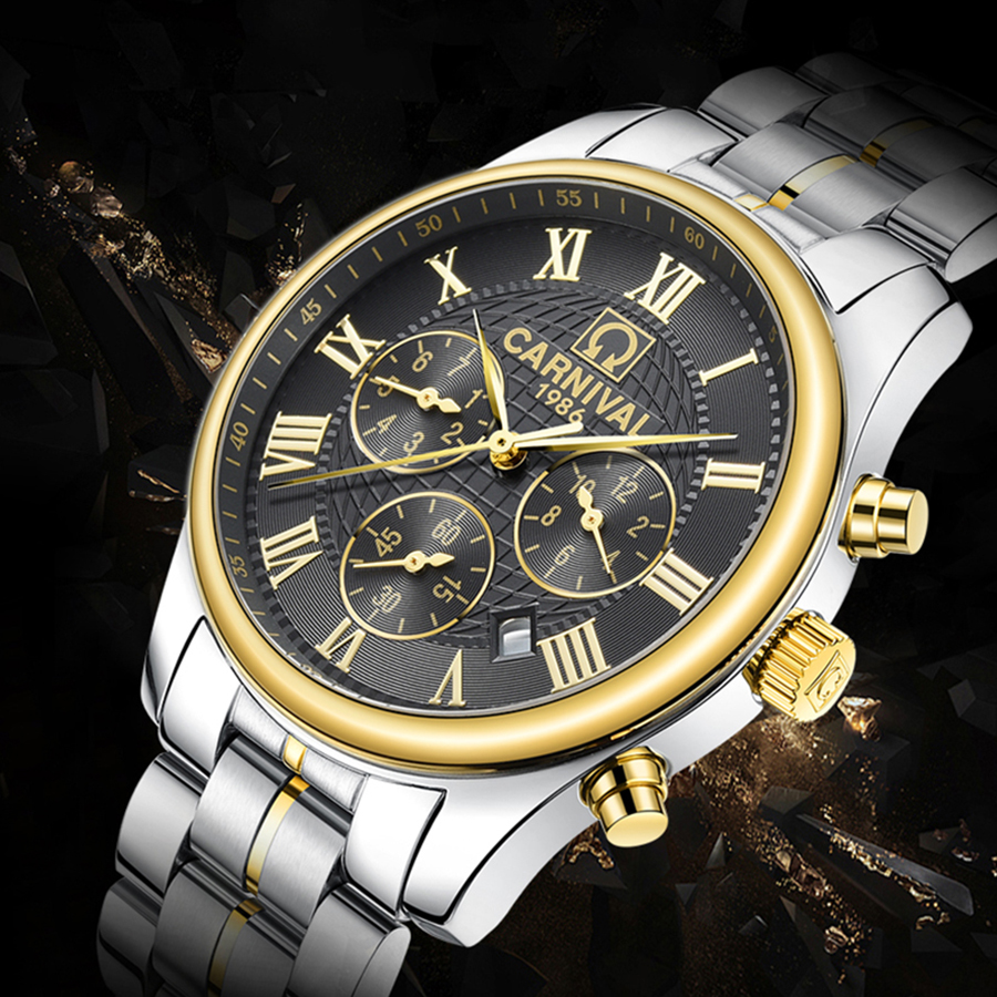 Fashion Luxury Brand Carnival Chronograph Men Sports Watches Waterproof Full Steel Casual Automatic Mechanical Men Watch Relogio carnival military hot automatic mechanical sports brand men watches full steel waterproof fashion luminous luxury watch big dial