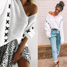 Autumn Winter Women's Long Sleeve Sexy V Neck Off Shoulder Cross Strap White Thick Sweaters Casual Loose Knitted Pullover Female