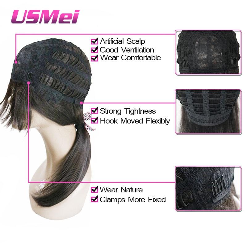 USMEI Silk Ευθεία μακρά μαύρη συνθετική - Συνθετικά μαλλιά - Φωτογραφία 5