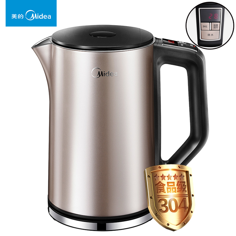 Midea Electric Kettle Household Kettle Automatic Power-off, 304 Stainless Steel Genuine HE1506B art silver art silver ar004dujjz59