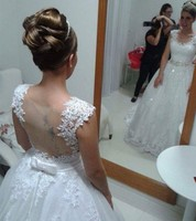 wuzhiyi vestidos de noiva China Bridal Gowns appliques Vintage lace wedding dresses 2018 Ball Gown Wedding Dress robe de mariag