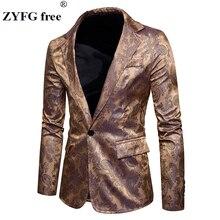 Casual suits 2018 New Arrivals men's slim fashion spring single button Cashew flowers pattern silk cloth Suit men EU/US size
