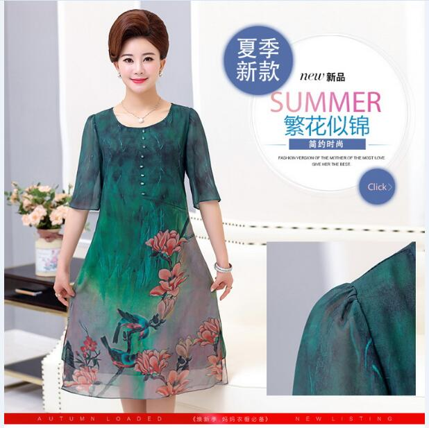 Summer Plus Size Women s Floral Printed Dress Half Sleeve Loose Dress  Double Layers Chiffon Dresses -in Dresses from Women s Clothing on  Aliexpress.com ... ec73d0f77fed