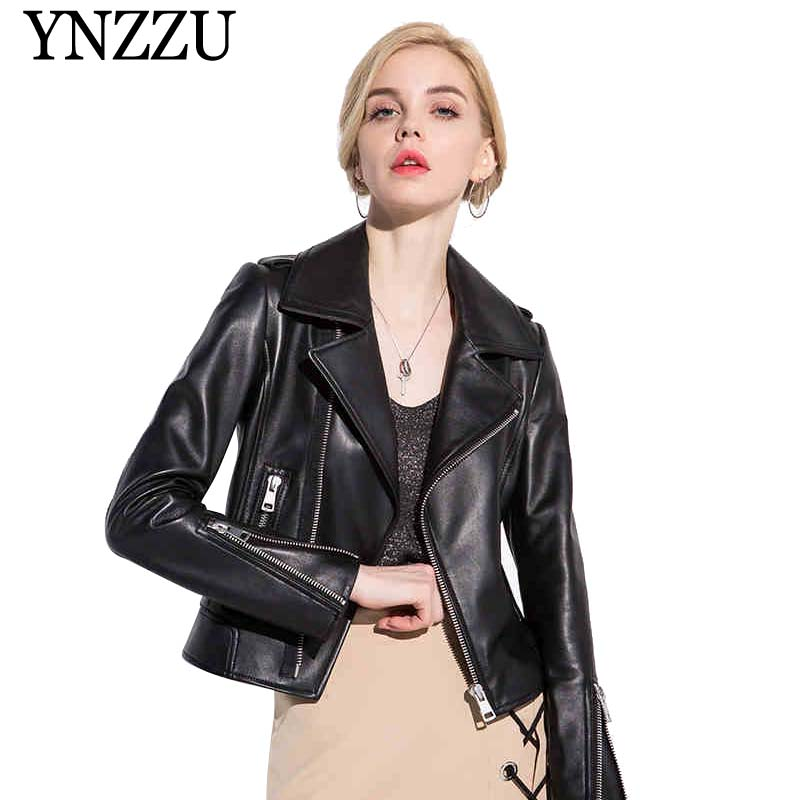 2019 Spring Women's Real Leather Jacket Black Chic Short Motorcycle Sheepskin Coat Genuine Leather Jacket Women Outwears AO810