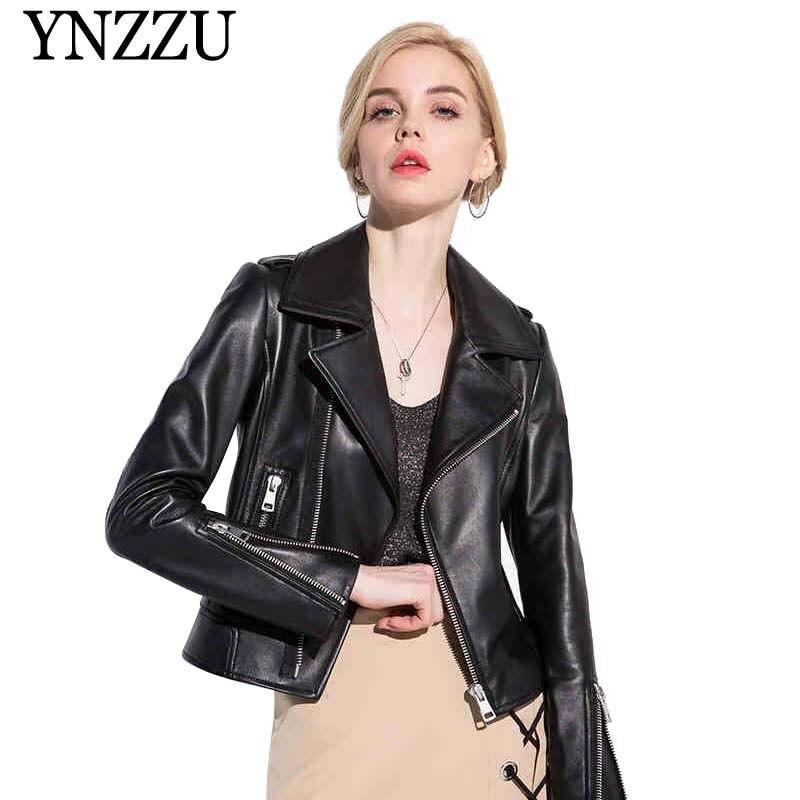 2019 Spring Women s Real Leather Jacket Black Chic Short Motorcycle Sheepskin Coat Genuine Leather Jacket