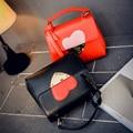 2017 all-match mini handbag casual color block messenger bag brief heart bag