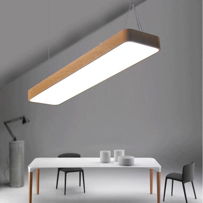 цена на Imitation wood grain office hanging lamp, aluminum office study chandelier, commercial lighting,L60cm