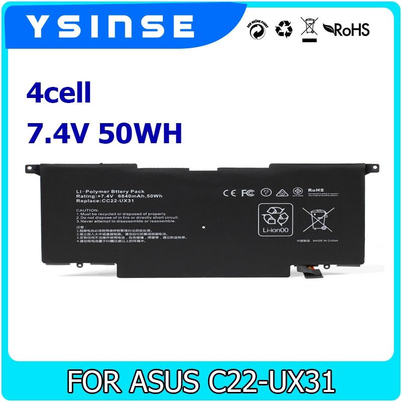 YSINSE UX31 Laptop Battery 7.5V 50WH For ASUS C22-UX31 C23-UX32 VivoBook U38N U38K U38DT Zenbook UX32 UX32VD UX32LA