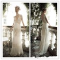 Vintage Lihi Hod A Line Wedding Dress with Sheer Deep V Neck Backless Bohemia Lace Applique Court Train Bride Bridal Gown