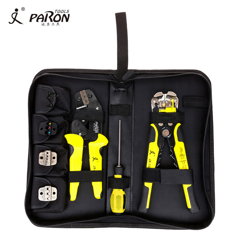 PARON 4 In 1 multi tool wire Crimper Kit Engineering Ratcheting Terminal Crimping Pliers wire Crimpe+ Wire Stripper+ Screwdiver automatic cable wire stripper stripping crimper crimping plier cutter tool diagonal cutting pliers peeled pliers
