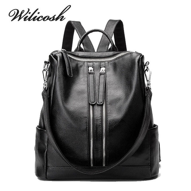 abc6105294 Wilicosh Customize Women PU Leather Backpacks School Bag For Girls Female  New Style Travel Shoulder Bag Herald Fashion YF027