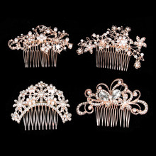 Floral Pearl Wedding Hair Comb Clip Rhinestone Headdress Crystal Butterfly Rose Gold Headpiece For Bridesmaid Bride Jewelry(China)