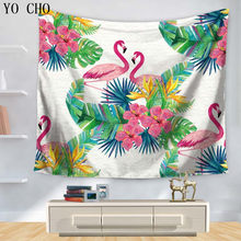 YO CHO Red-crouned Crane Tropical Bird Tapestry Home Decor Wall Hanging Boho Beach Towel Yoga Mat Bedspread Table Colth Wallrugs(China)