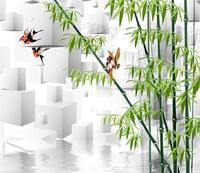 [Self Adhesive] 3D White Cube Bird Green Bamboo Lake 7 Wall Paper mural Wall Print Decal Wall Murals