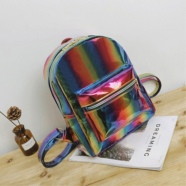 f30654df9 2018 New Hologram Laser Backpack For Girls School Bag Women Rainbow  Colorful Metallic Silver Laser Holographic Backpack-in Backpacks from  Luggage & Bags on ...