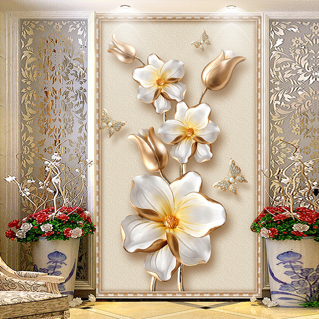 Custom Any Size 3D Murals Wallpaper Stereoscopic Relief Golden Flower Jewelry Entrance Corridor Wall Mural Photo