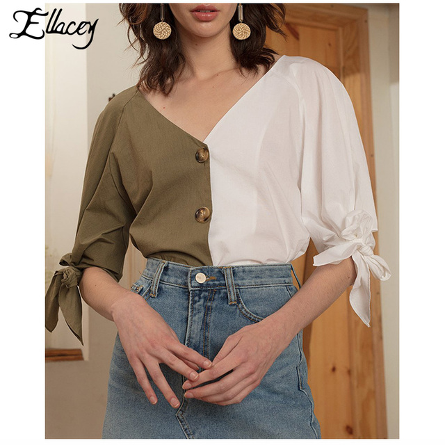 92dffa82f28254 Ellacey New 2018 Green White Patchwork Women Blouse Contrast Color V-Neck  Bow Shirt Short