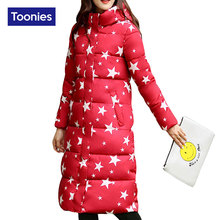 2017 Fashion Winter  Ladies Overcoat Cotton Padded Long Jacket Women Stars Print Female Coat Warm Winter Slim Jackets Thick