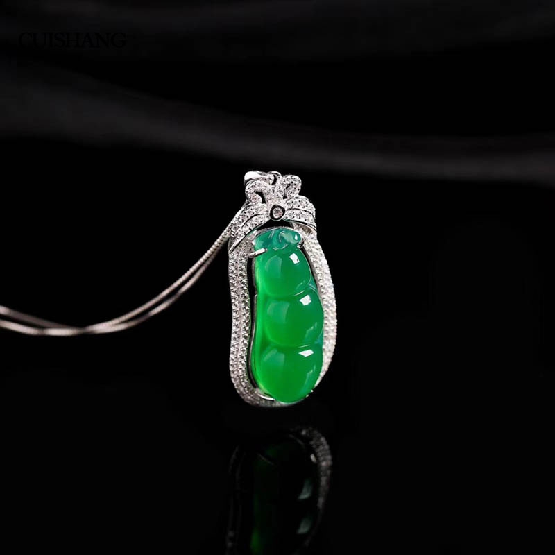 CSJ natural green agate pendants sterling 925 silver real gemstone fine jewelry for women party gift ethnic wind bracelets men and women decorations green agate 925 silver ball duobao string original jewelry