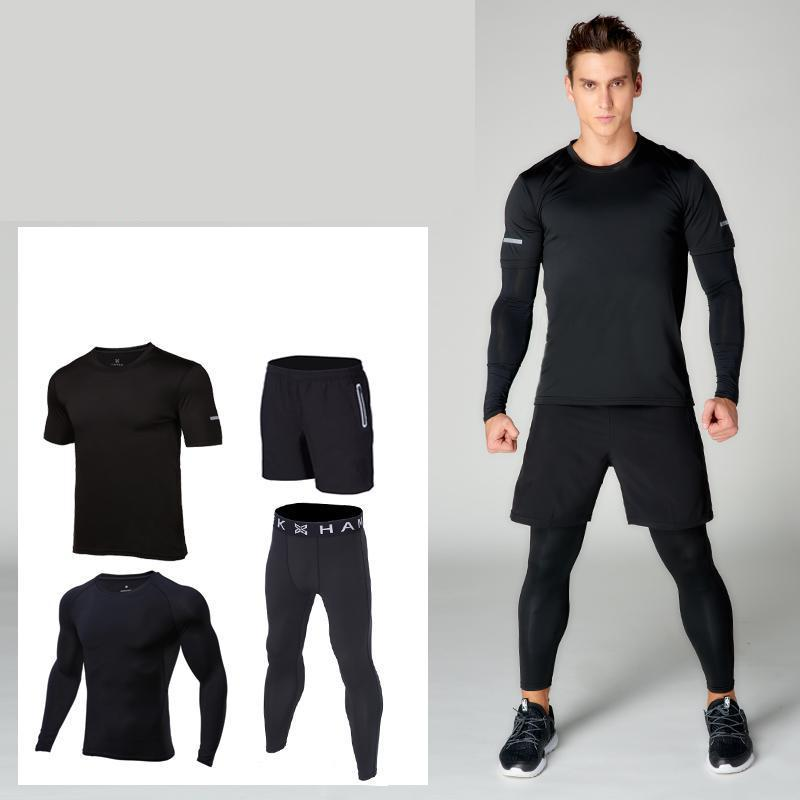 running sports sets men trainning exercise set compression sportswear men's suit quick dry fitness jogging sports suits clothes 2017 autumn winter men s running sets 5 pieces compression fitness sports suits basketball tights clothes gym jogging sportswear
