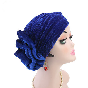 Image 5 - Helisopus Nuovo Modo di Velluto Cappello Turbante Delle Donne Elegante Musulmano Cappello Elastico di Modo di Perdita di Capelli Femminile Cap Chemio Cap Accessori per Capelli