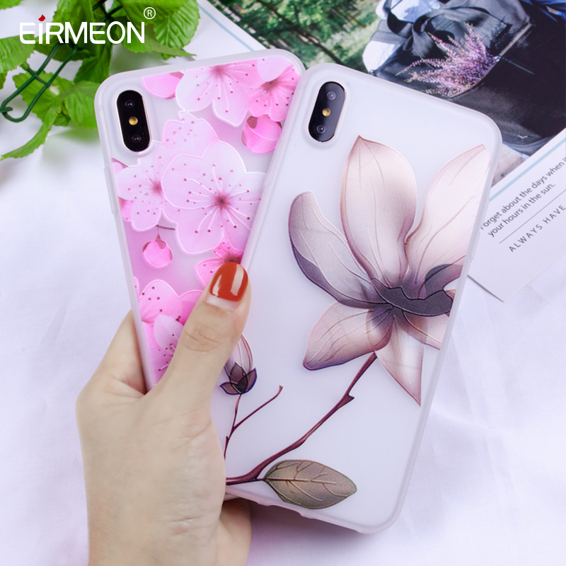 EIRMEON For iPhone XS Max Case Relief Flowers Covers XR 5S SE 6 6S 7 8 Plus Soft TPU Silicon Back Coques X