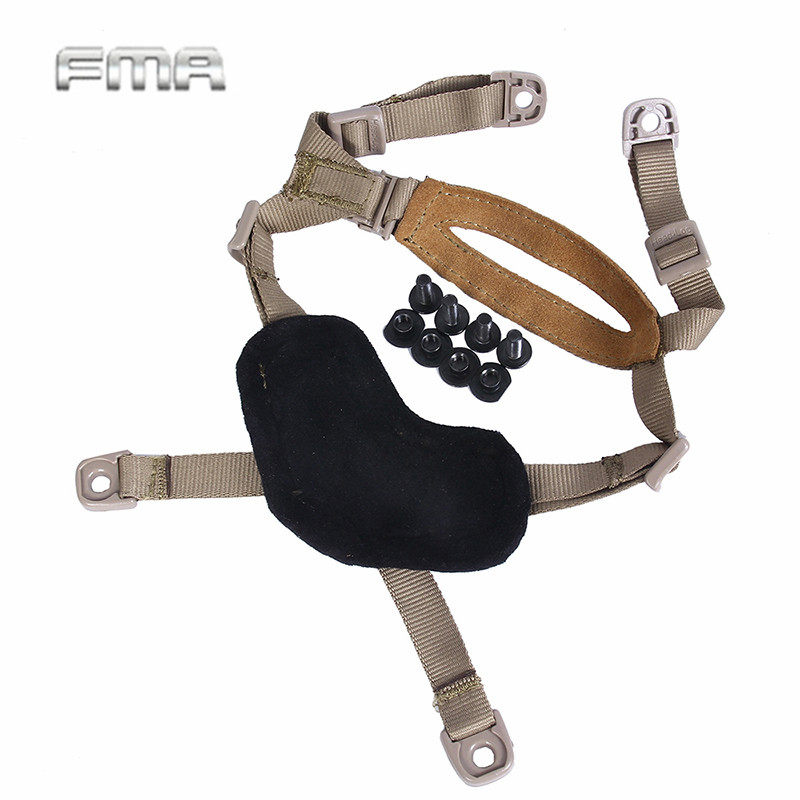 FMA One Handed Adjustable Helmet General Suspension Lanyards Padded Protective Leather Chin Strap with no loose TB956
