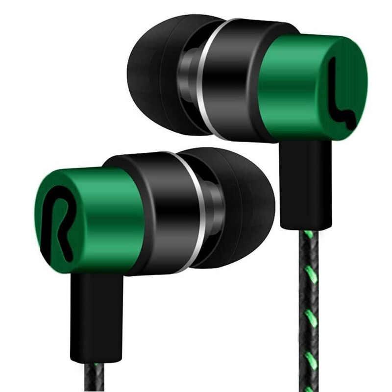 Di alta Qualità di Sport del Trasduttore Auricolare 3.5mm In-Ear Stereo Auricolare MP3 Musica Cuffie Intrecciato Linea Subwoofer Universale Placcatura auricolari