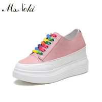 Ms Noki 2017 New Fashion Style Lace Up Women Mesh Summer Shoes Hidden Heel Shoes White