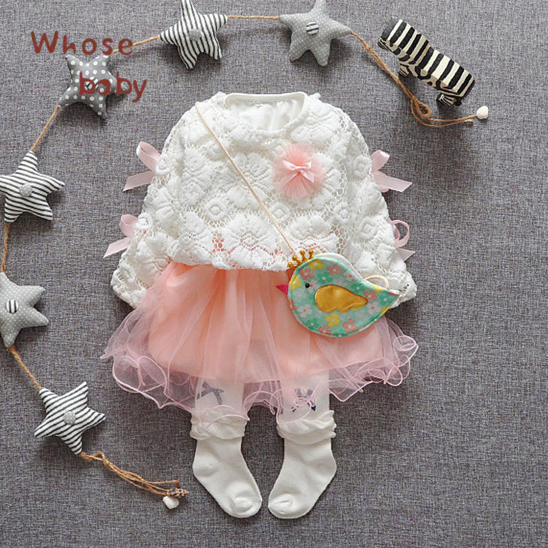 Baby Girl Dress 2017 Lace Tulle New Princess Party Infant Dresses for Girls Long sleeve Toddler Baby Dress Baby Clothing baby girl 1st birthday outfits short sleeve infant clothing sets lace romper dress headband shoe toddler tutu set baby s clothes