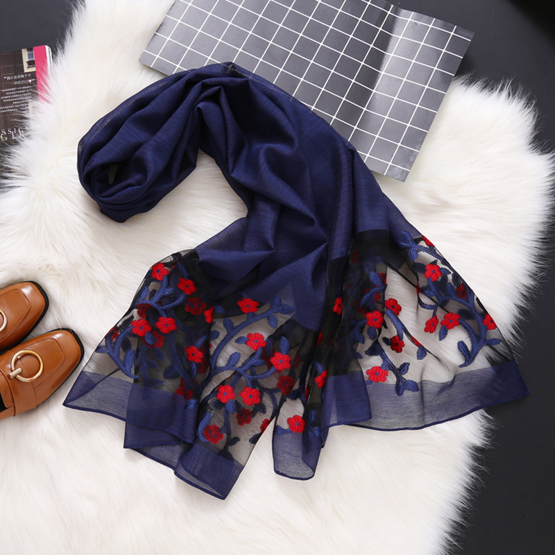 2019 Spring Women Silk Organza   Scarf   Plain Floral Elegant Ladies Embroider Lace Long   Scarves   Shawls   Wrap