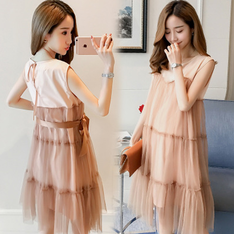 Glittery Sweet Maternity Clothes The new Korean Version Fashion Summer Dress Sleeveless Net yarn Splice Pregnant Woman Dress