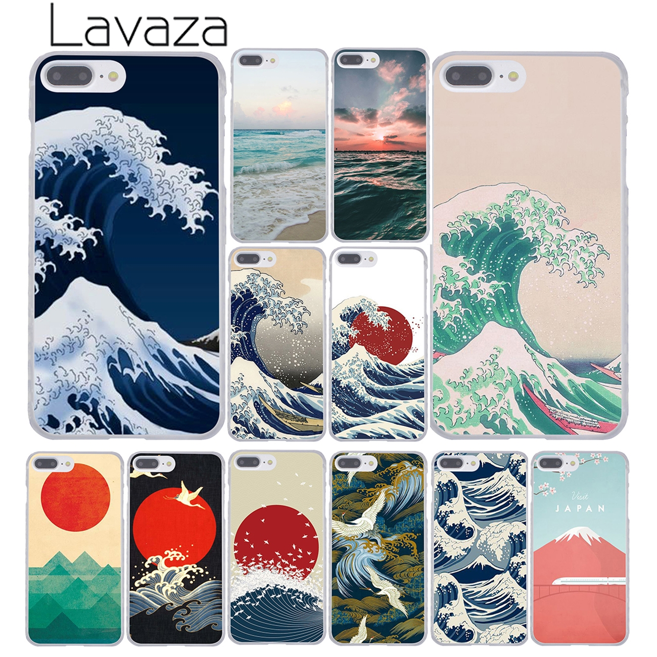 Lavaza Wave Art Japanese Green Illust Classic Hard Cover Case For Apple IPhone 8 7 6 6S Plus 5