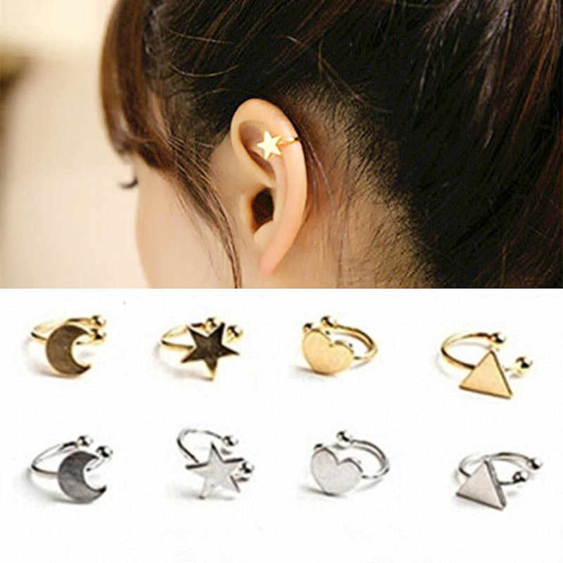 2019 New Arrivals Fashion No Pierced Non-piercing Earcuff Ear Star Moon Heart Triangle Clip-on Clip Earrings For Women Jewelry