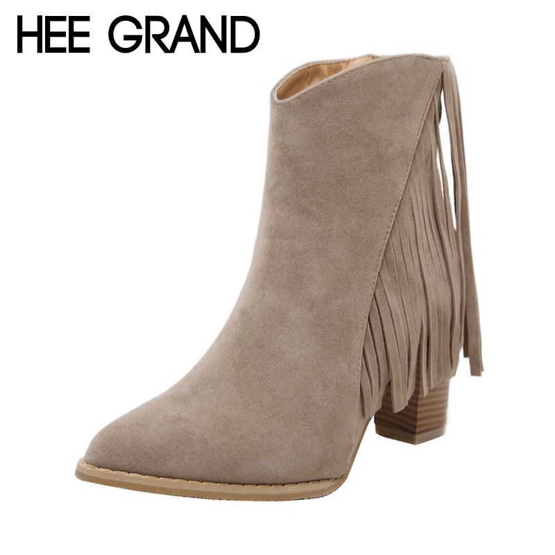 HEE GRAND 2017 New Fringe Women Ankle Boots Solid Faux Fur High Heels Boots Ladies Fashion Gladiator Tassel Shoes Woman XWX6177 цены онлайн
