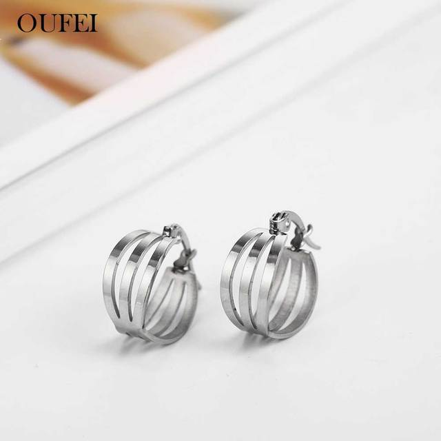 OUFEI Hoop Earrings Charm Earrings Stainless Steel Fashion Jewelry Woman Accesories Gifts For Women Mass Effect  Wholesale